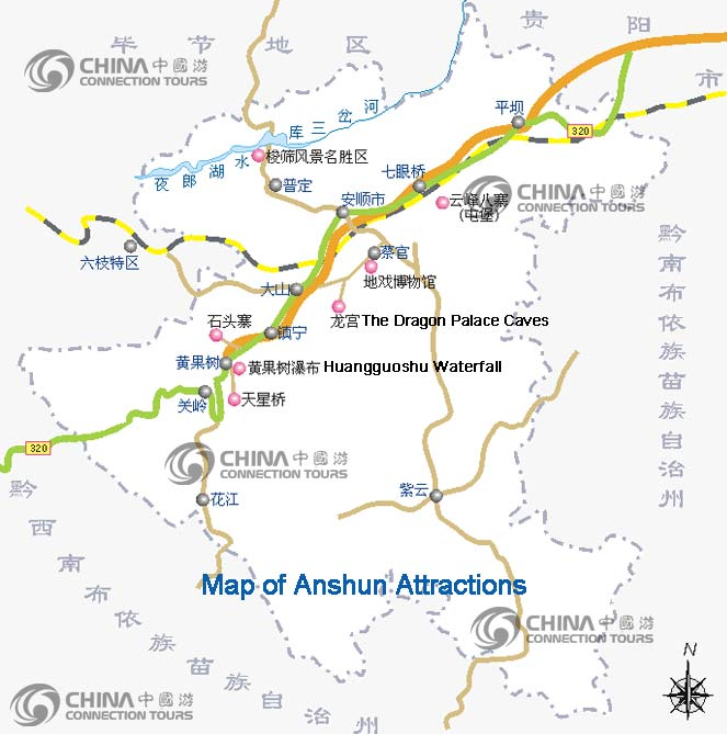 Anshun China  City pictures : Anshun Attractions Map, China Anshun Attractions Map, Anshun Travel ...