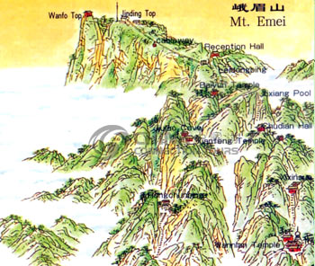 Map of Emeishan Mountain