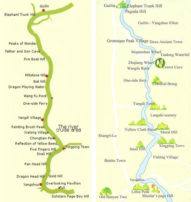 Li River Map Guilin Li River Map China Tour Map Resources