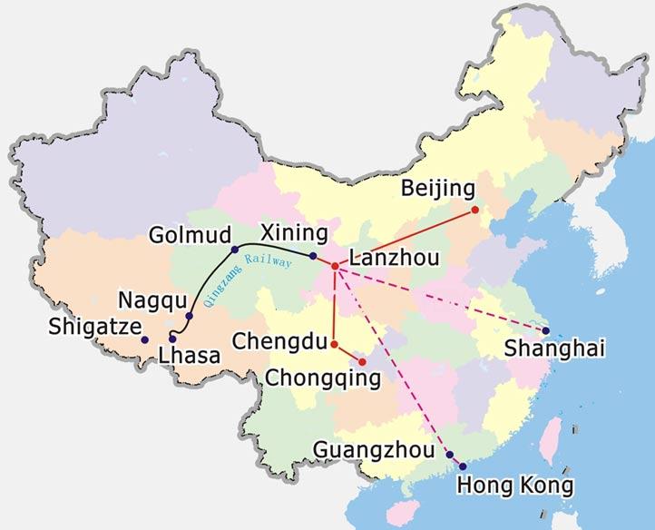 Tibet Train Map, Map of Tibet Train, China Tour Map Resources