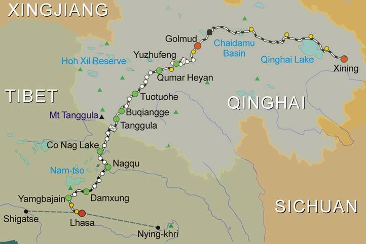 Qinghai-Tibet Train Route Map, Map of Qinghai-Tibet Train Route
