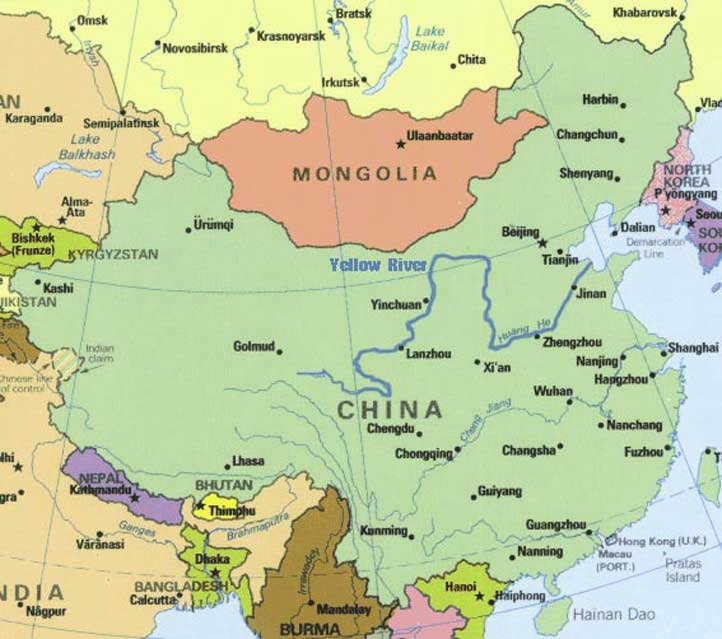 Yellow River Map, Huanghe Map, China Yellow River Maps on