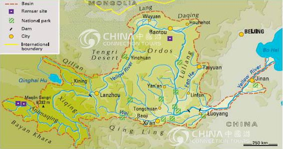 Yellow River Map, Huanghe Map, China Yellow River Maps