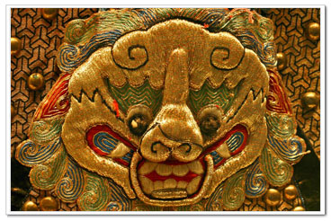 antique Chinese embroidery, excavated from the Ming Emperor Tomb