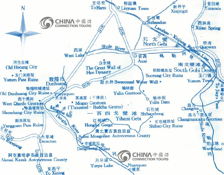Dunhuang Tourist map, Dunhuang maps, Dunhuang Travel Guide