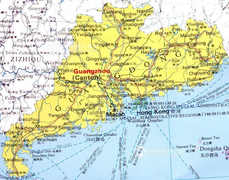 Guangdong Provincial Map China Guangdong Provincial Map - China political map in english