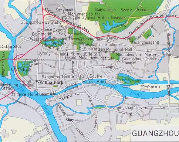 Guangzhou City Map, China Guangzhou City Map - Guangzhou Travel Guide