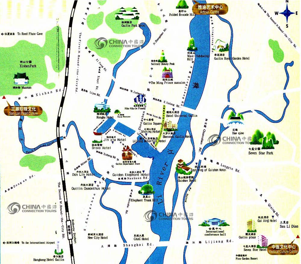 Guilin Tourist Map, Guilin Maps,  Guilin Travel Guide