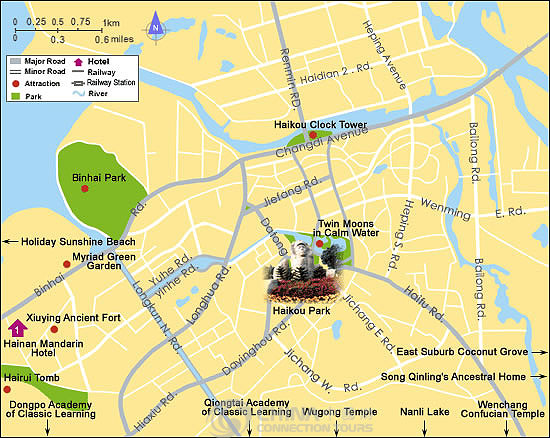 Haikou Tourist Map, China Haikou Tourist Map - Haikou Travel Guide