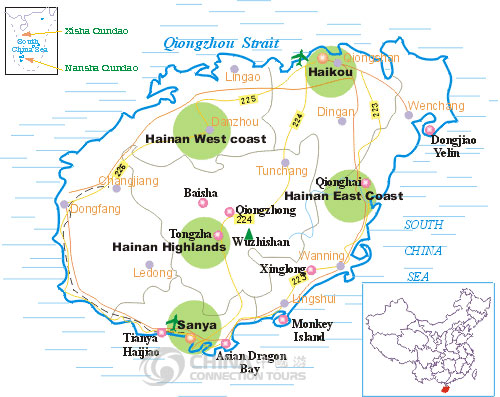 Hainan Tourist Map, Hainan Maps, Hainan Travel Guide