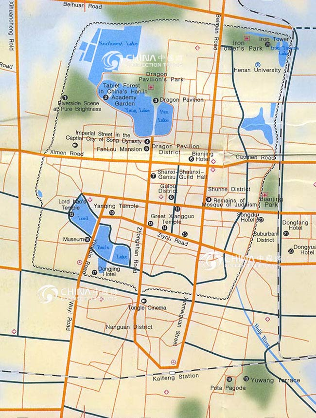 Kaifeng Tourist Map, China Kaifeng Tourist Map - Kaifeng Travel Guide