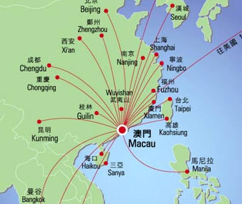 Macau Airlines Map, Macau Maps