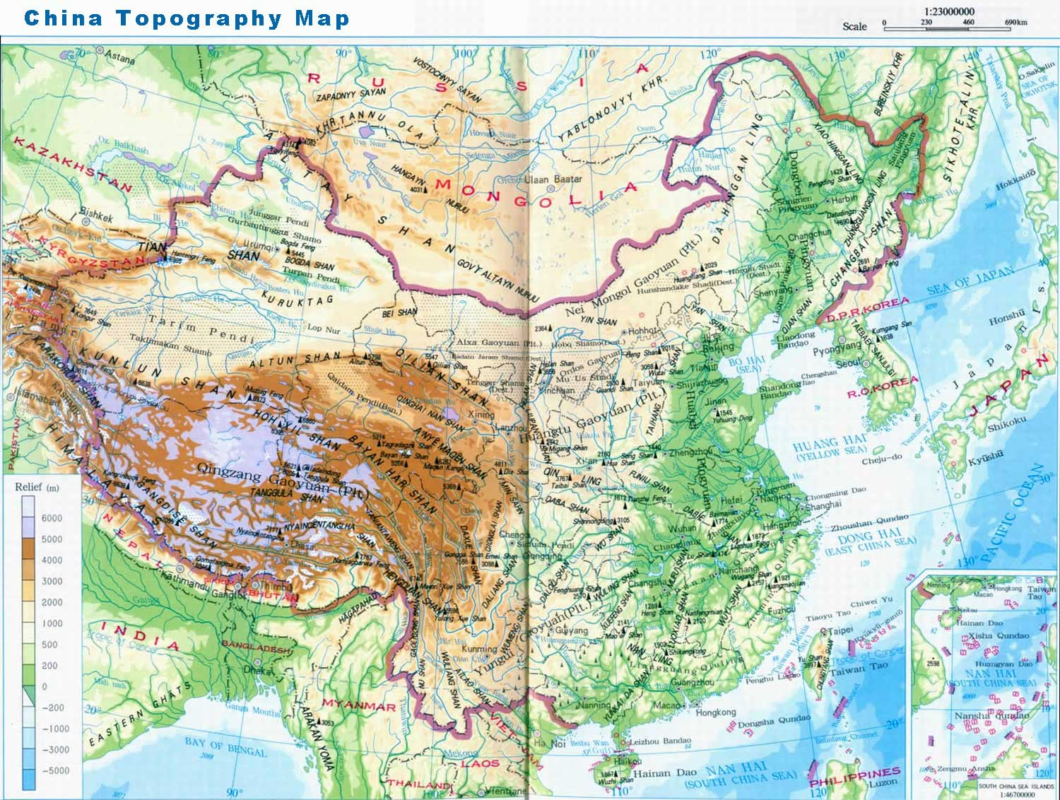 China topography, topography of China   China tour background