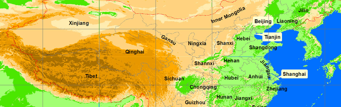 Map of Mountains in China – China tour background information