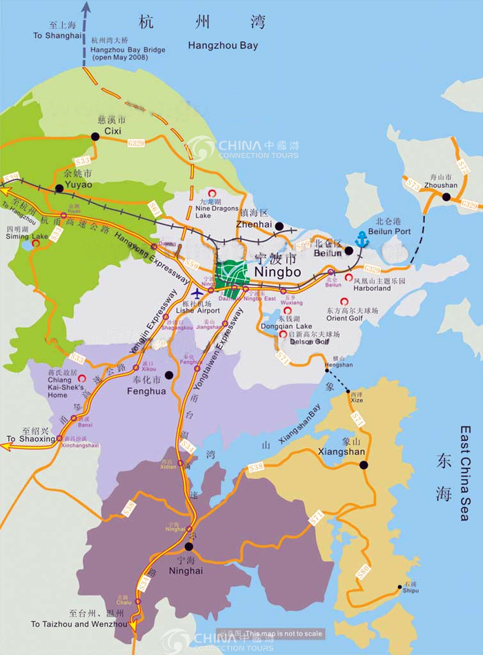 Ningbo Tourist Map China Ningbo Tourist Map Ningbo Travel Guide - Fenghua map