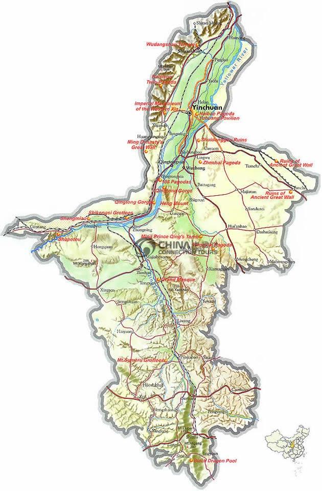 Ningxia China Map.Ningxia Provincial Map China Ningxia Provincial Map Ningxia