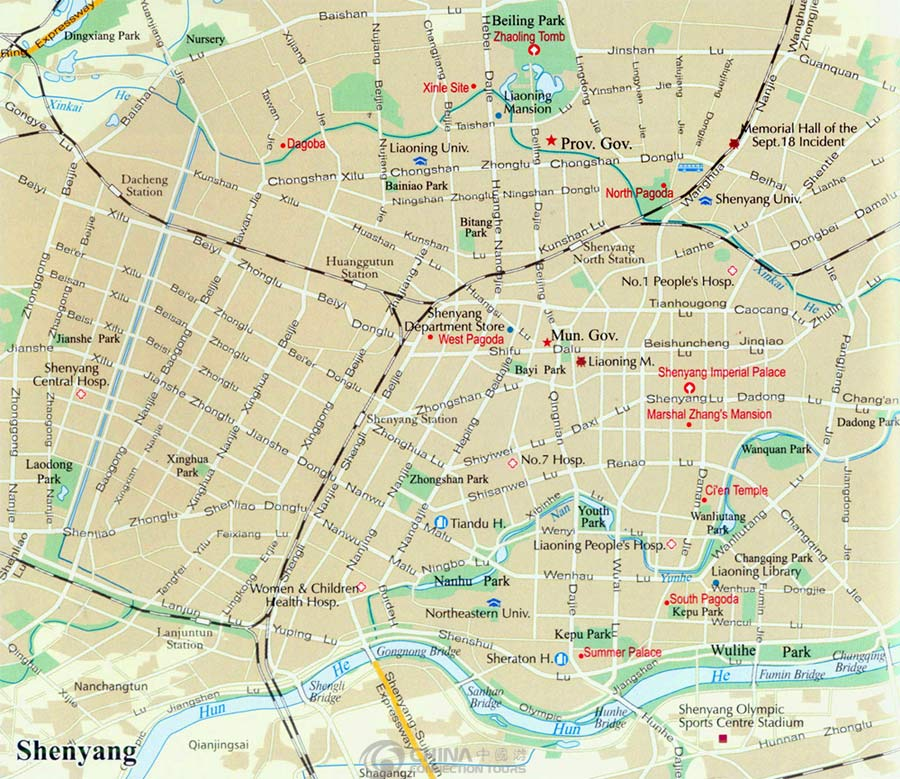 Shenyang Tourist Map China Shenyang Tourist Map Shenyang Travel Guide