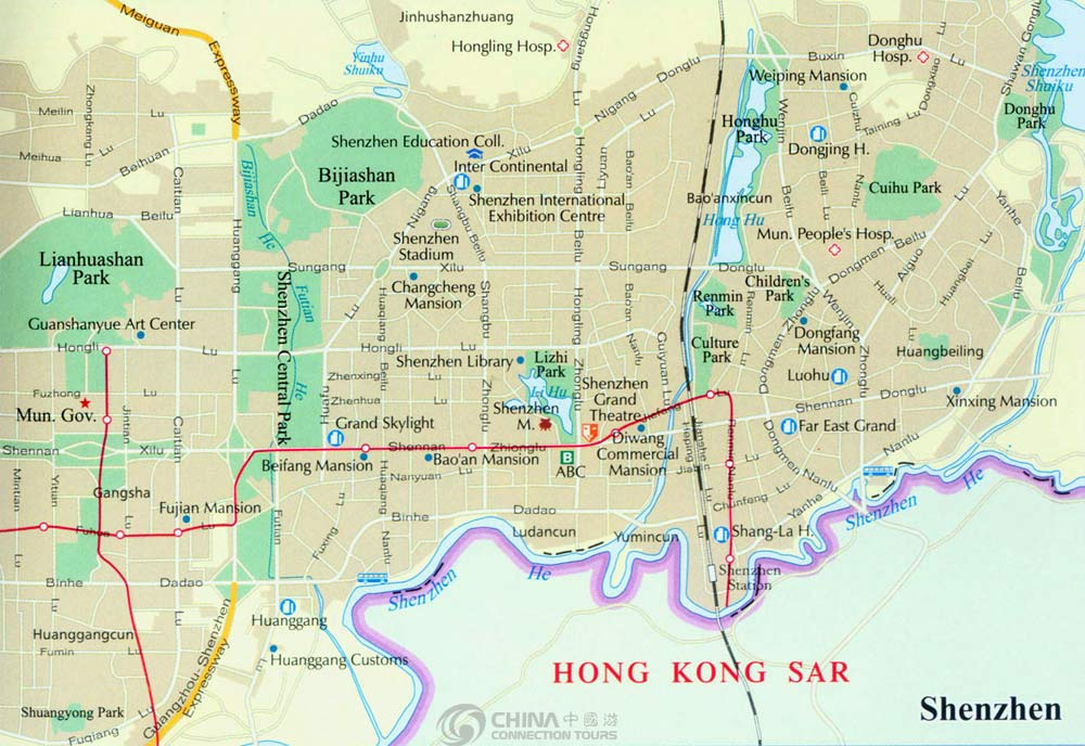 Shenzhen City Map China Shenzhen City Map Shenzhen Travel Guide