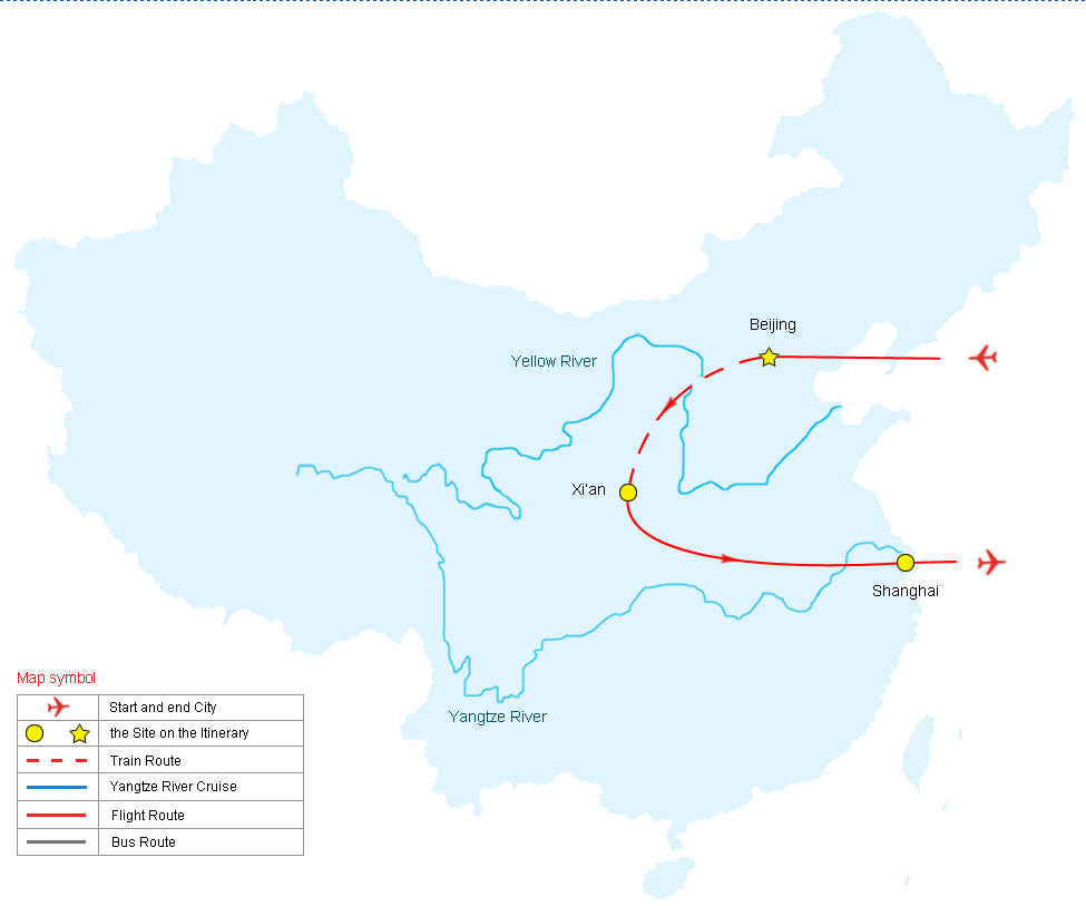 Map of Best of China Tour, China Tour Map