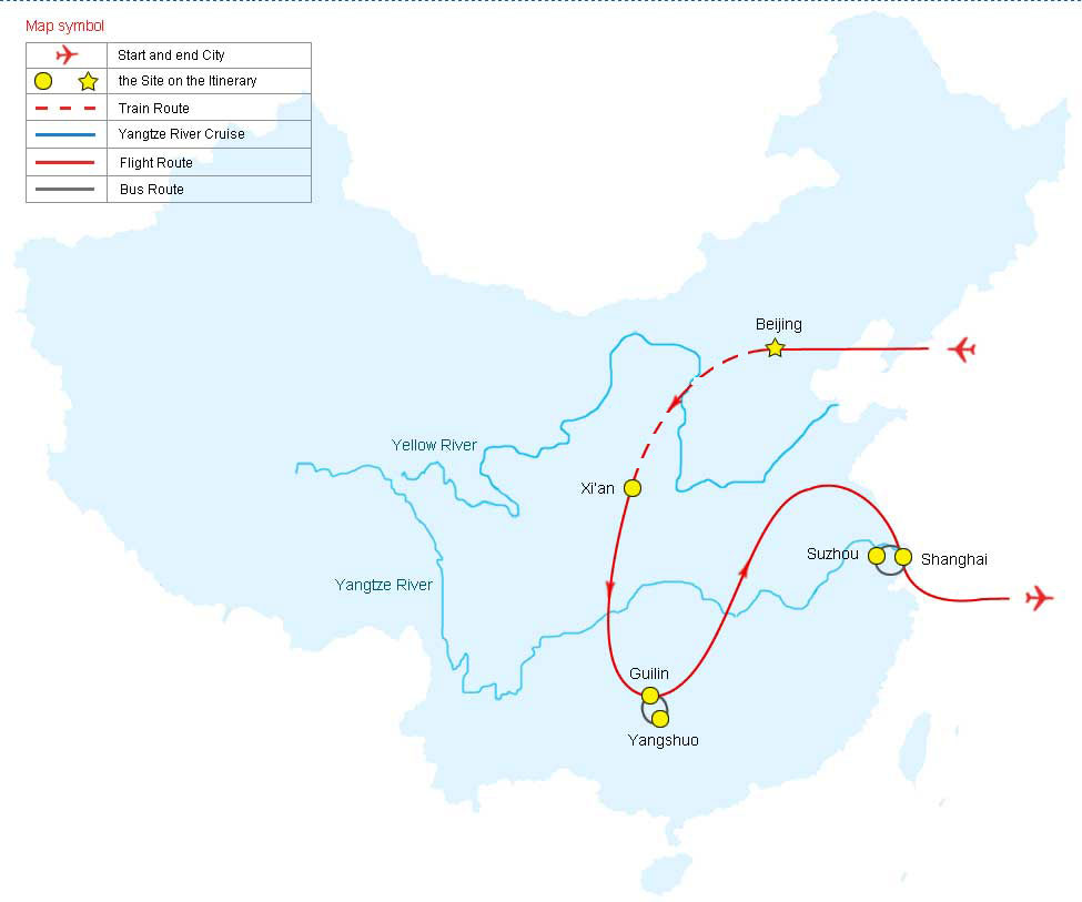 Map of China Discovery Tour, China Tour Map