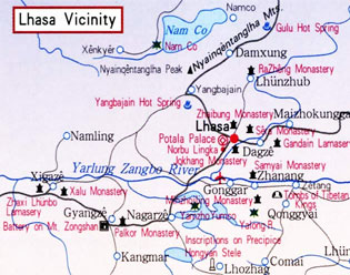 Lhasa Scenic Spots Map