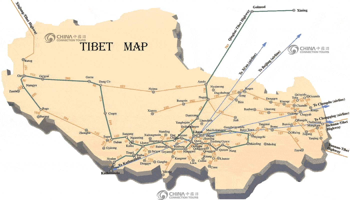 Map of Tibet Autonomous Region, Tibet Maps, Tibet Travel Guide