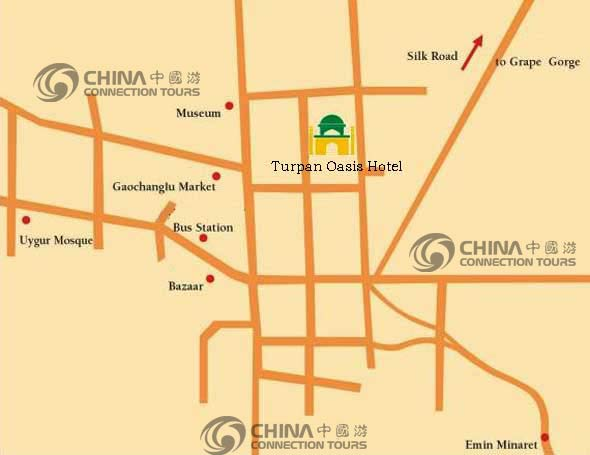Turpan City Map, Turpan Maps,  Turpan Travel Guide