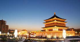 Night view of Xian Bell Tower, Xian Attractions, Xian Travel Guide