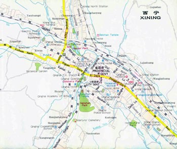 Xining City Map, Xining Maps, Xining Travel