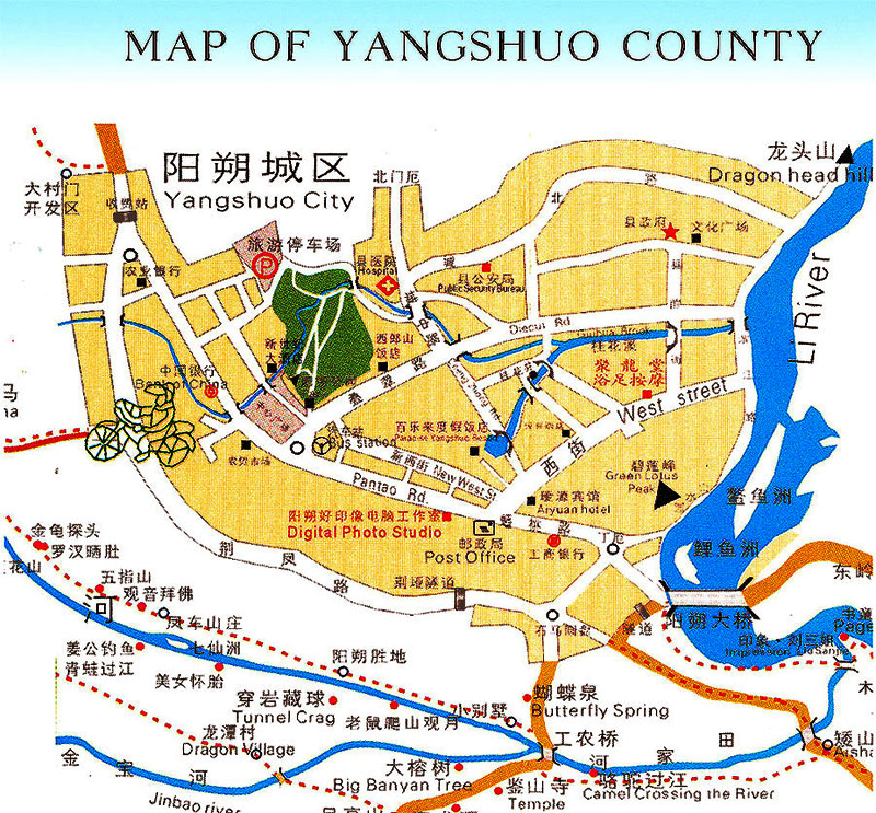 Map of Yangshuo, Yangshuo Maps, Yangshuo Travel Guide
