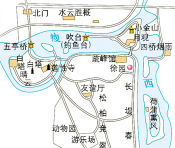 Shouxihu Lake Map, Yangzhou Maps, Yangzhou Travel