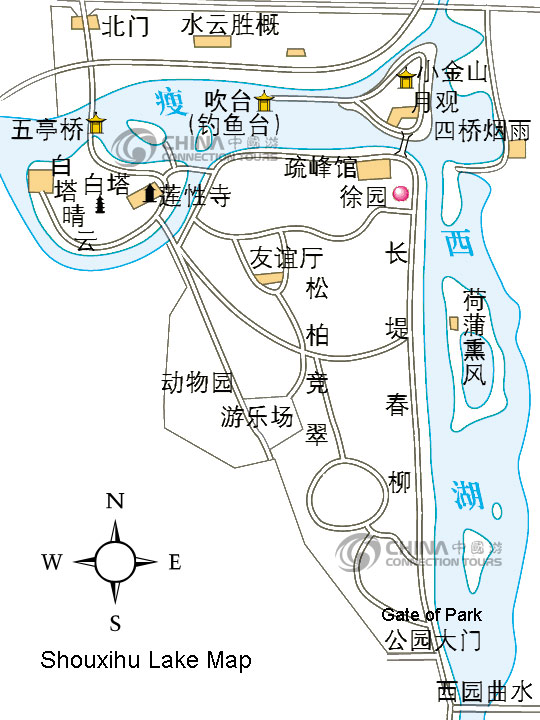 Shouxihu Lake Map, Yangzhou Maps, Yangzhou Travel Guide