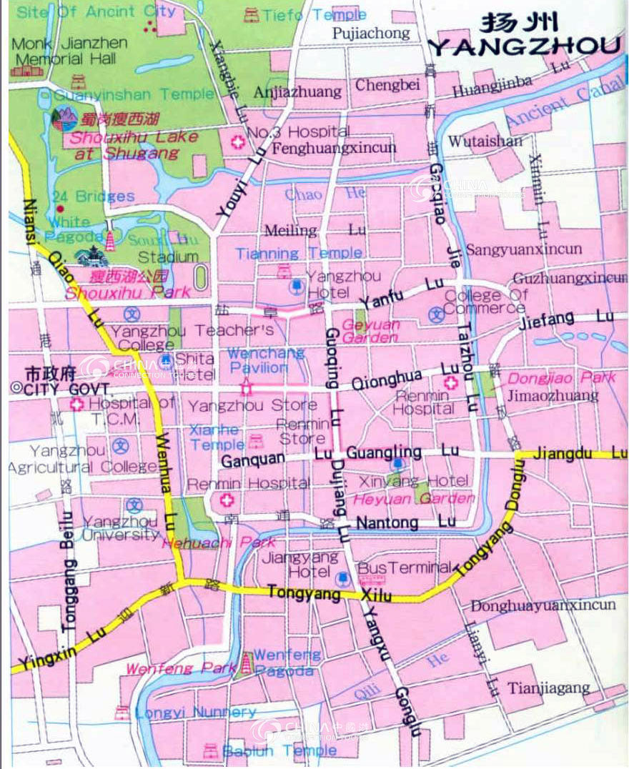 Yangzhou City Map, Yangzhou Maps, Yangzhou Travel Guide