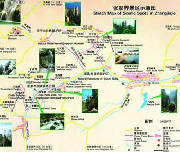 Map of Scenic Spots in Zhangjiajie