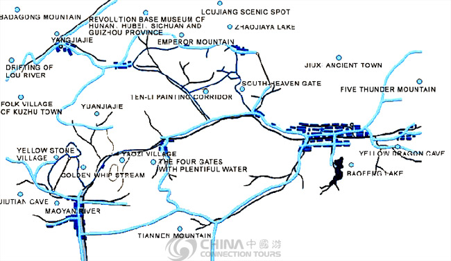 Zhangjiajie City Map, Zhangjiajie Maps, Zhangjiajie Travel Guide