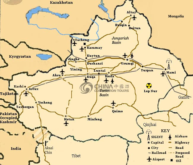 Xinjiang Administration Map, Xinjiang Maps, Xining Travel Guide